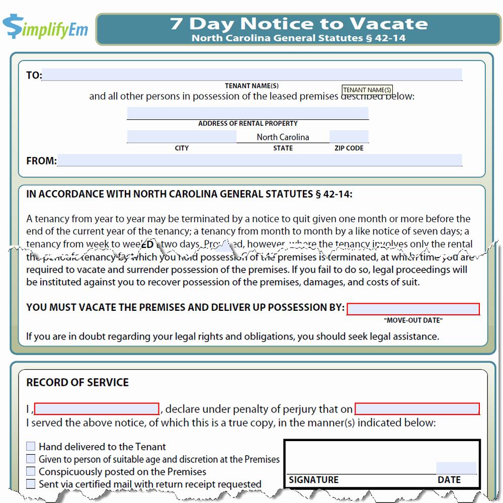 Nc Eviction Notice Template Elegant north Carolina Notice to Vacate