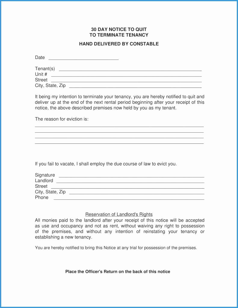 Nc Eviction Notice Template Lovely Notice to Quit Tenancy Template