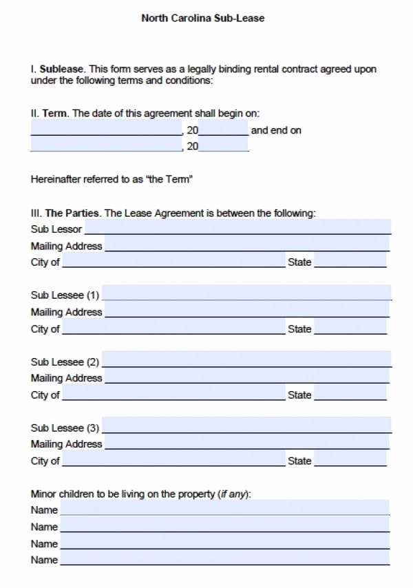 Nc Eviction Notice Template New Free north Carolina Sublease Agreement Pdf
