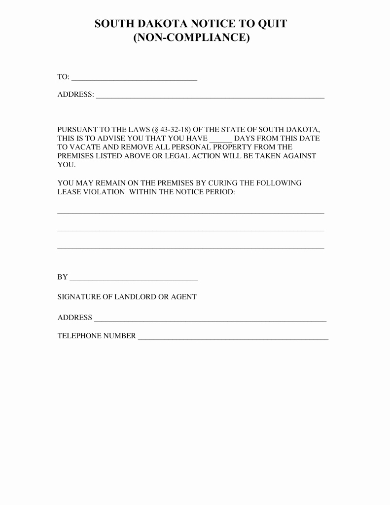Nc Eviction Notice Template New south Dakota Notice to Quit form Non Pliance