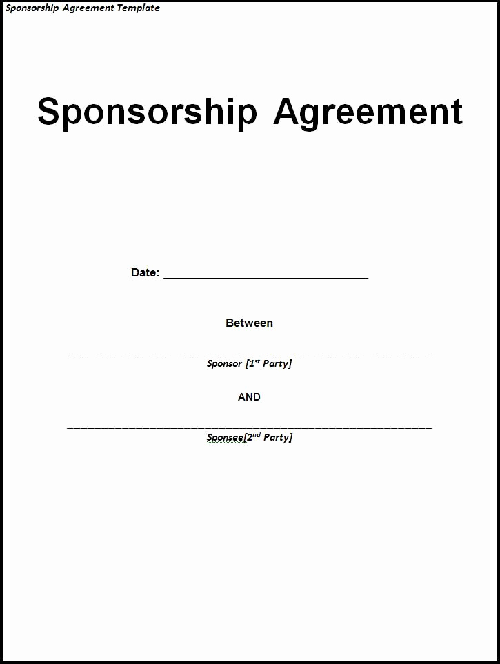 Non Profit Invoice Template Awesome Sponsorship Agreement Sample and Template Use Our