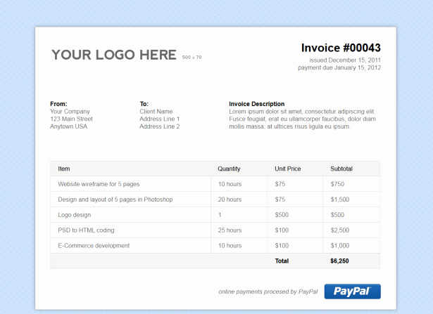 Non Profit Invoice Template Elegant Simple HTML Invoice Template Stationery Templates On