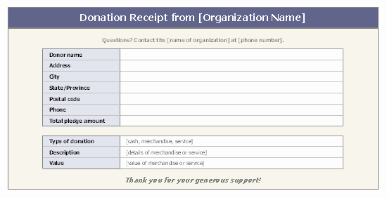 Non Profit Invoice Template Fresh Donation Receipt