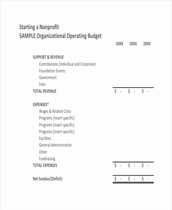 Non Profit Operating Budget Template Elegant 11 Nonprofit Bud Templates Word Pdf Excel