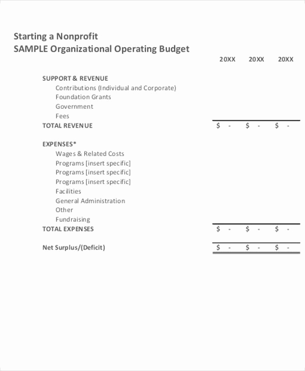 Non Profit Operating Budget Template Fresh 14 Nonprofit Bud Templates Word Pdf Excel