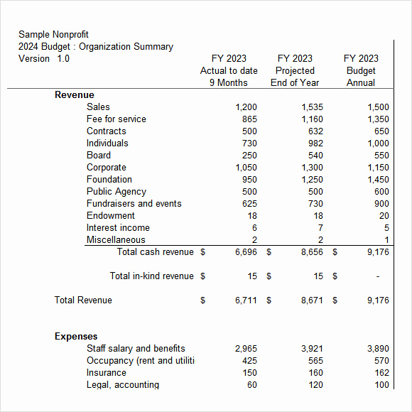 Non Profit organization Budget Template Awesome 13 Non Profit Bud Templates In Google Docs