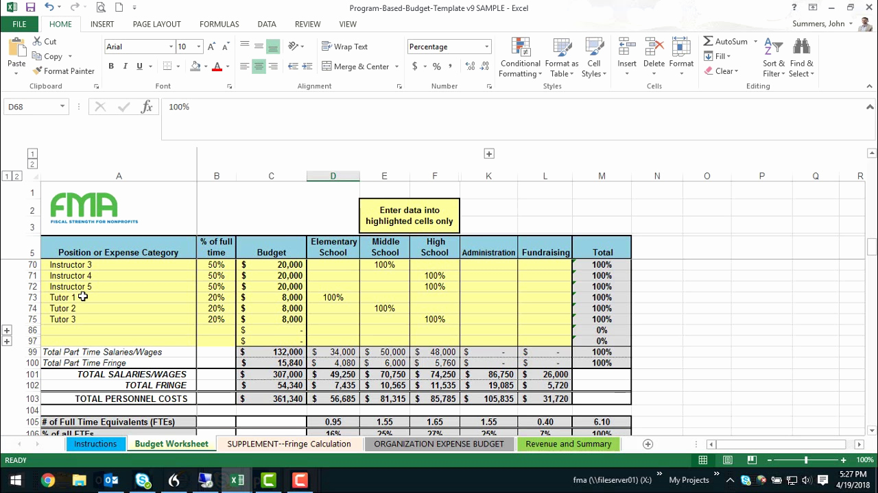 Nonprofit Program Budget Template Best Of Program Based Bud Builder Demonstration V9