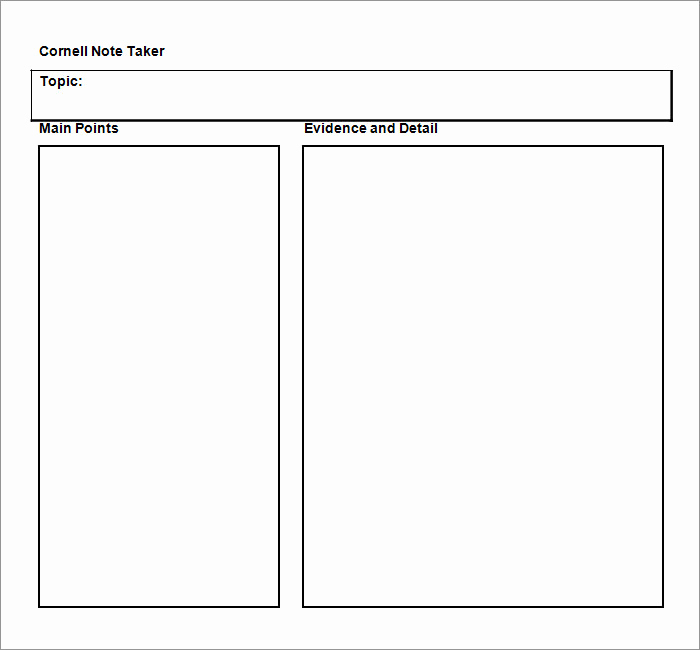 Note Taking Template Word Awesome Cornell Notes Template 56 Free Word Pdf format