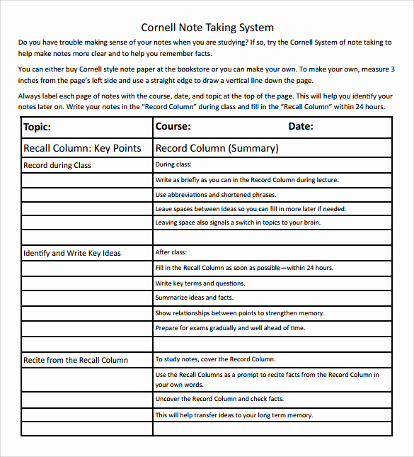 Note Taking Template Word Beautiful Free 9 Cornell Note Taking Templates In Pdf