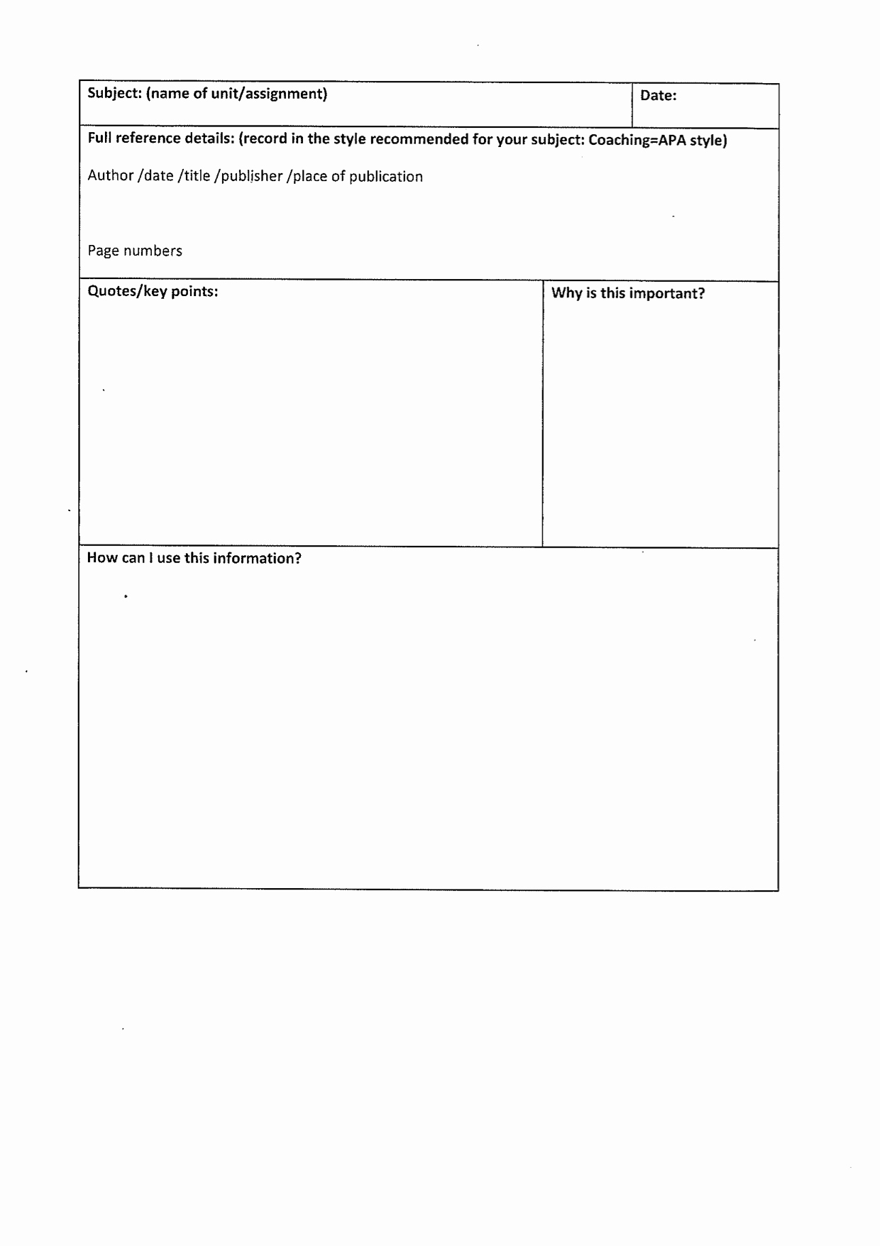 Note Taking Template Word Best Of Structure – the Writing Space