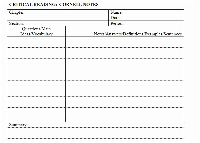 Note Taking Template Word Elegant Cornell Notes Template – 51 Free Word Pdf format