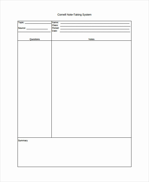 Note Taking Template Word Elegant Free 9 Cornell Note Taking Templates In Pdf