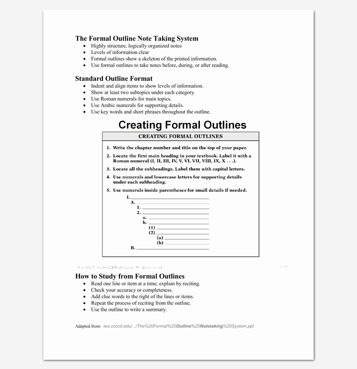 Note Taking Template Word Lovely Blank Outline Template 11 Examples and formats for