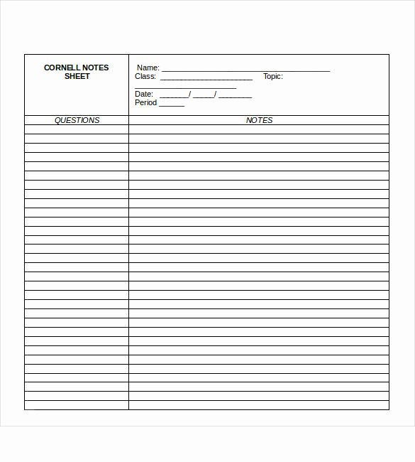 Note Taking Template Word Lovely Cornell Note Taking Template 8 Free Word Excel Pdf