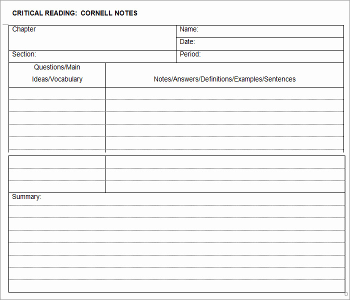 Note Taking Template Word Lovely Cornell Notes Template 56 Free Word Pdf format