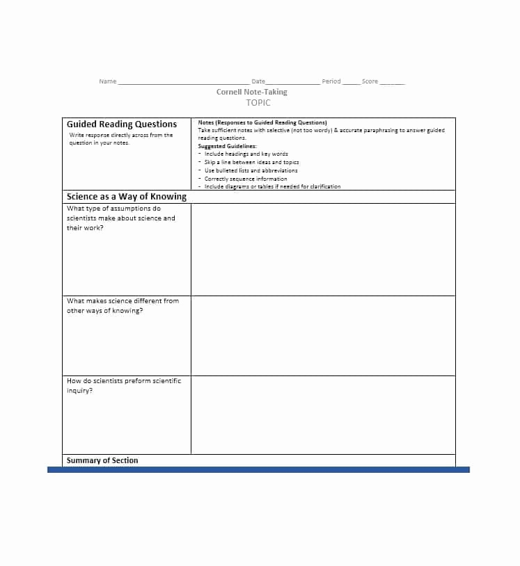 Note Taking Template Word Luxury 36 Cornell Notes Templates & Examples [word Pdf
