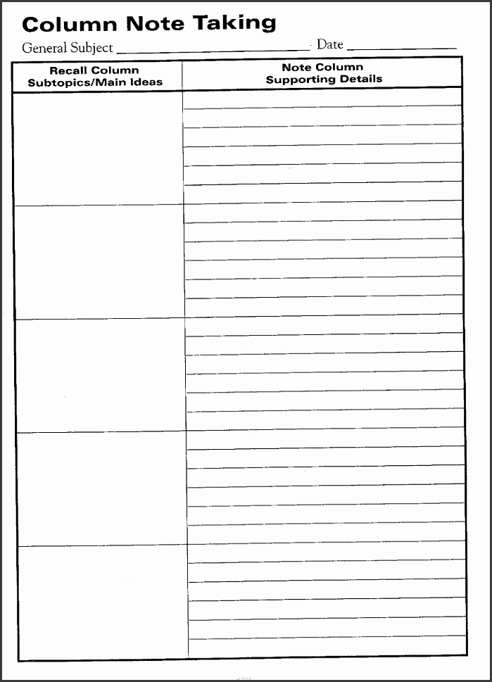 Note Taking Template Word Luxury 7 Cornell Note Word Template Sampletemplatess
