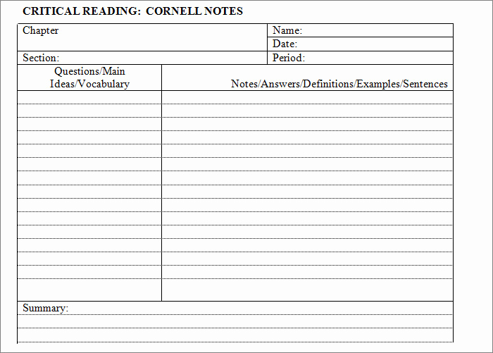 Note Taking Template Word New Cornell Notes Template 56 Free Word Pdf format