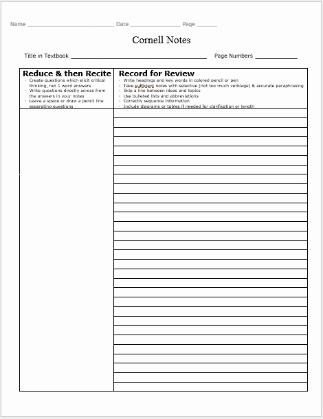 Note Taking Template Word Unique 17 Free Cornell Notes Templates Examples and Printable