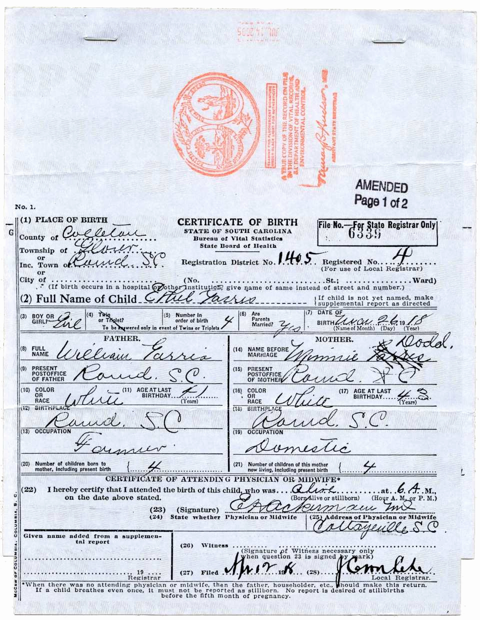 Old Birth Certificate Template Unique 30 Basic What Does A south Carolina Birth Certificate Look