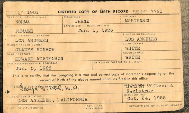 Old Birth Certificate Template Unique Marilyn Monroe Birth Certificate