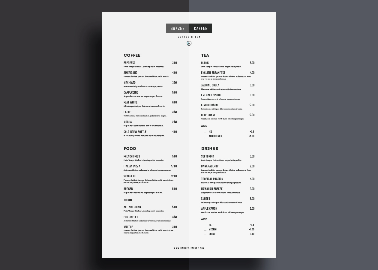 One Page Menu Template Awesome E Page Restaurant Menu Template