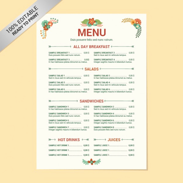 One Page Menu Template Beautiful 8 Menu Layout Templates Free Psd Eps format Download