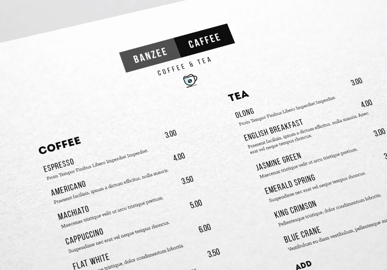 One Page Menu Template Fresh E Page Restaurant Menu Template