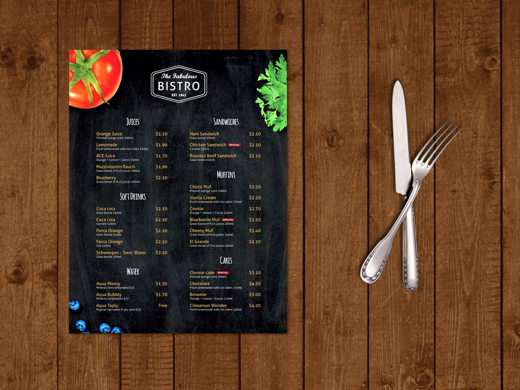 One Page Menu Template Inspirational Modern Bistro Cafe Menu Template Brochure Templates