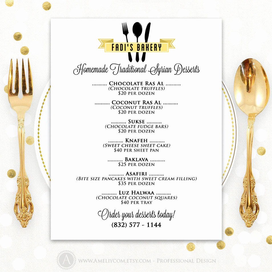 One Page Menu Template Inspirational Printable Gold Bakery Menu Template for Self Print Price Menu