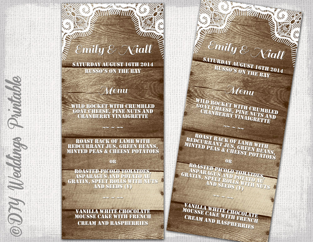 One Page Menu Template Inspirational Rustic Wedding Menu Template Wood & Lace Rustic