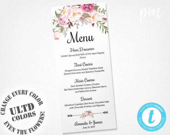 One Page Menu Template Inspirational Wedding Menu Template Printable Menu Floral Wedding Menu