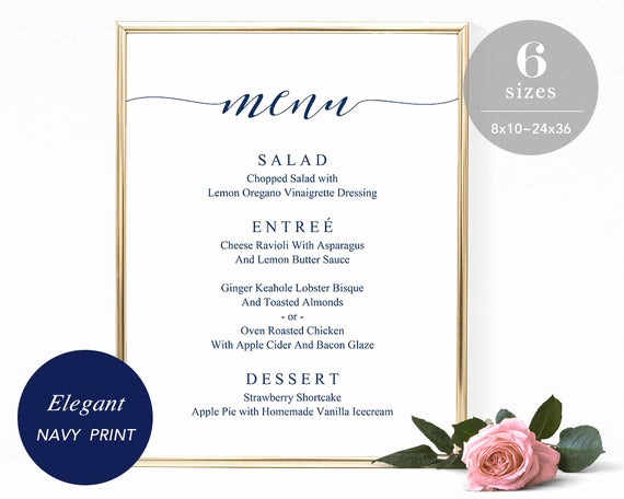 One Page Menu Template Lovely Navy Wedding Menu Sign Template Printable Wedding Menu Board