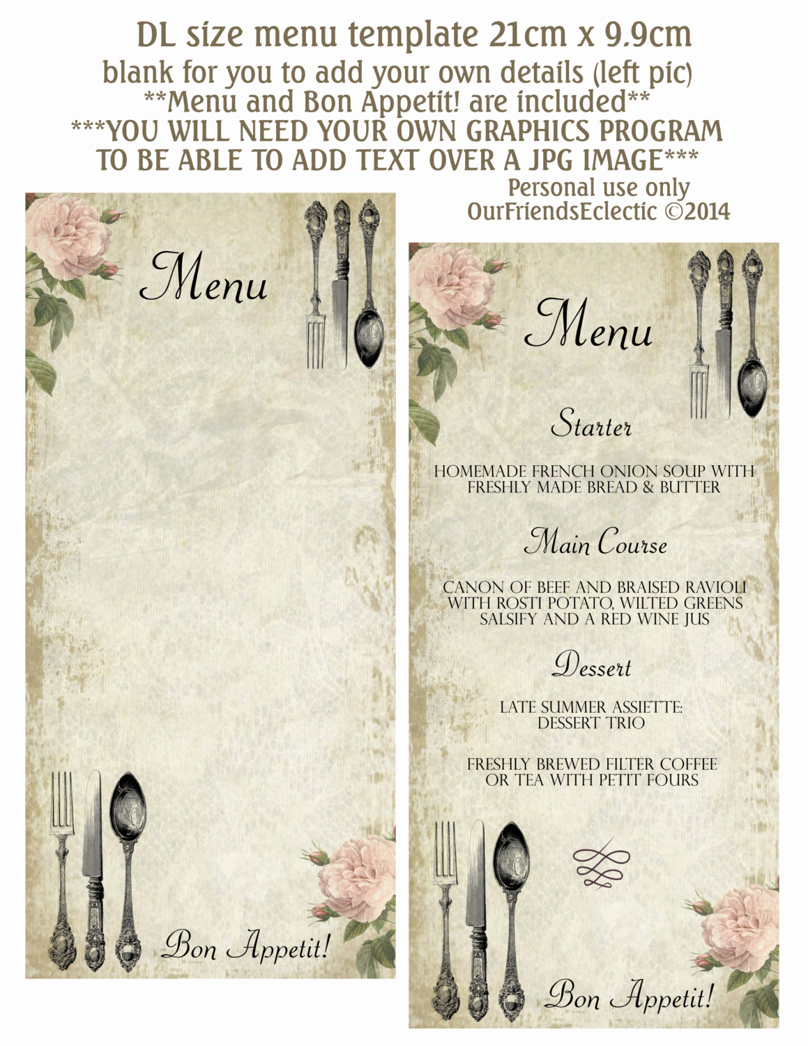 One Page Menu Template Lovely Printable Menu Blank Menu Shabby Pink Rose Vintage Cutlery