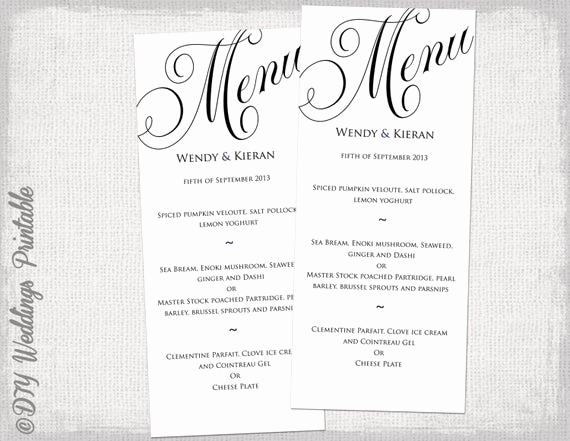 One Page Menu Template Unique Menu Template Black and White Wedding Menu Diy Wedding Menu