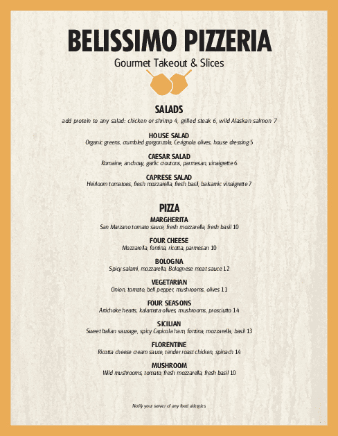 One Page Menu Template Unique Pizzeria Restaurant Menu Page