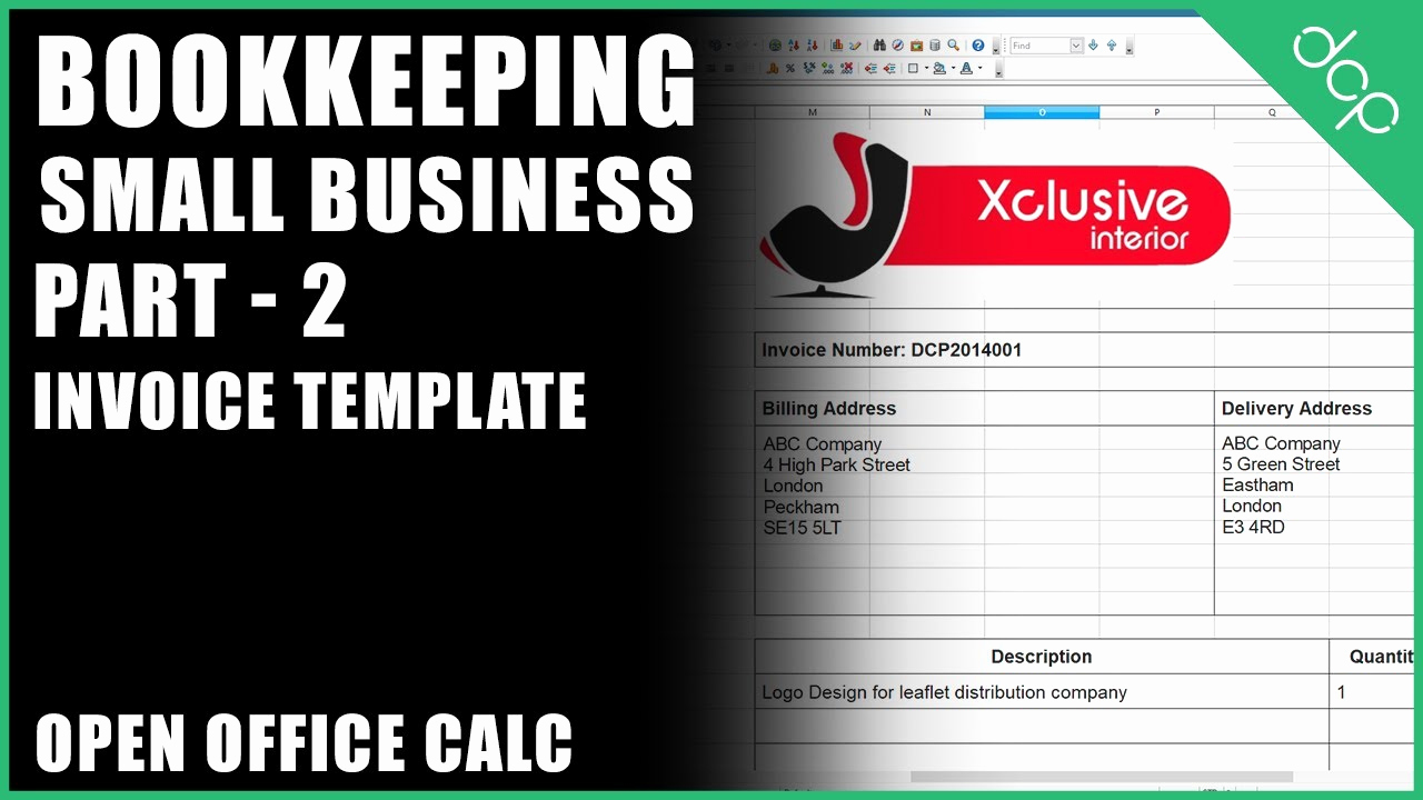 Open Office Invoice Template Free Awesome Bookkeeping for Small Business Tutorial Part 2 Open