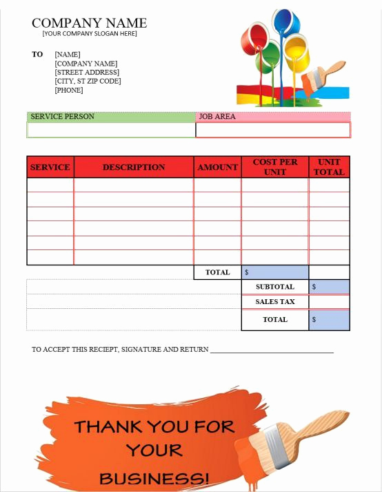 Painters Invoice Template Free Elegant Painting Invoices