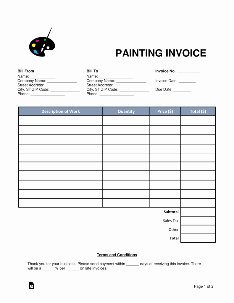 Painters Invoice Template Free Fresh Free Painting Invoice Template Word Pdf