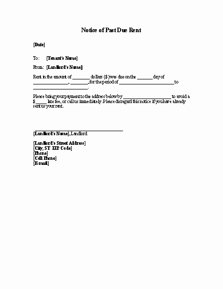 Past Due Rent Notice Template Beautiful Late Rent Past Due Rent Notice Template