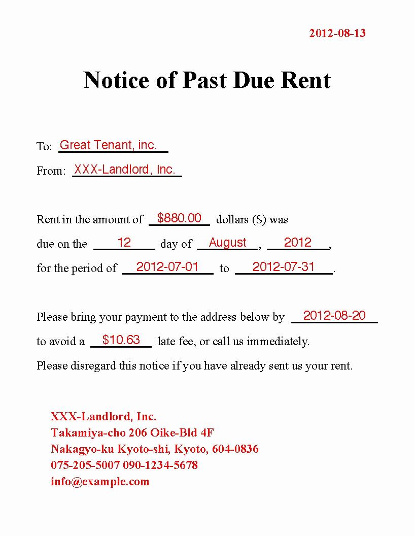 Past Due Rent Notice Template Elegant Past Due Rent Letter Template Samples