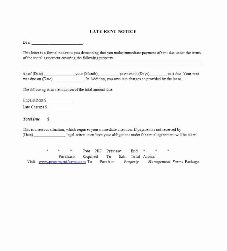 Past Due Rent Notice Template Inspirational 34 Printable Late Rent Notice Templates Templatelab