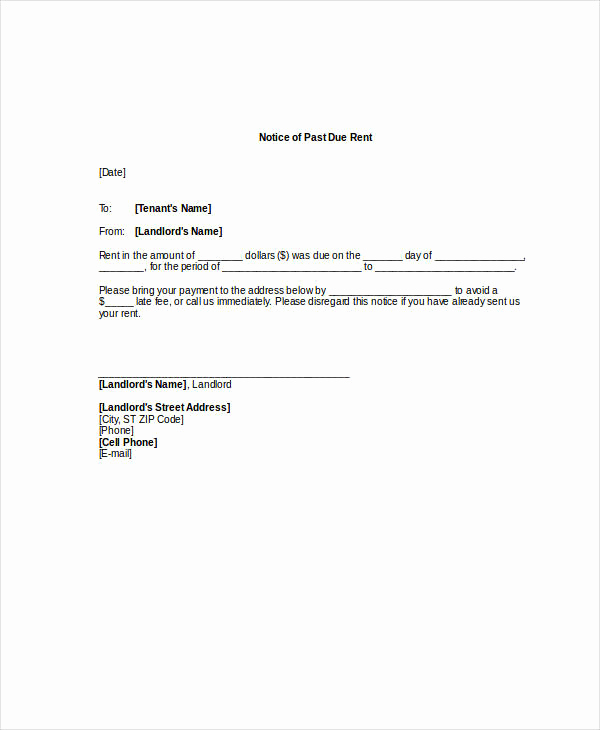 Past Due Rent Notice Template Lovely Free 22 Notice Examples In Pdf Doc