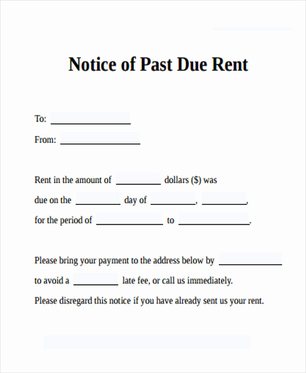 Past Due Rent Notice Template New Free 33 Notice form In Examples Pdf