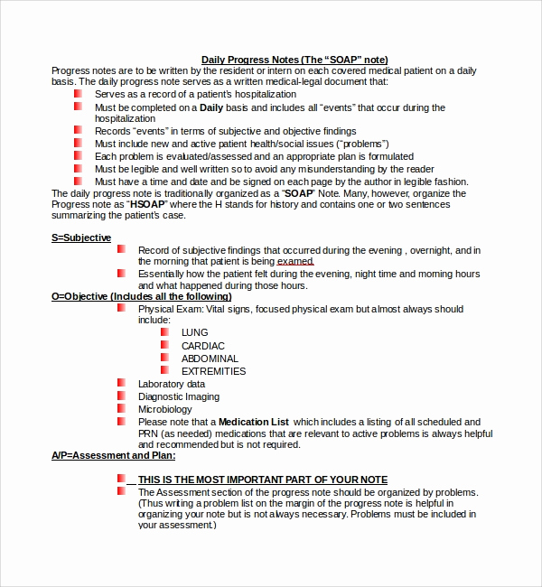 Patient Progress Note Template Best Of Free 9 Sample Progress Note Templates In Pdf