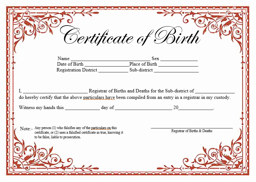 Pdf Certificate Template Free Fresh 14 Free Birth Certificate Templates In Ms Word & Pdf