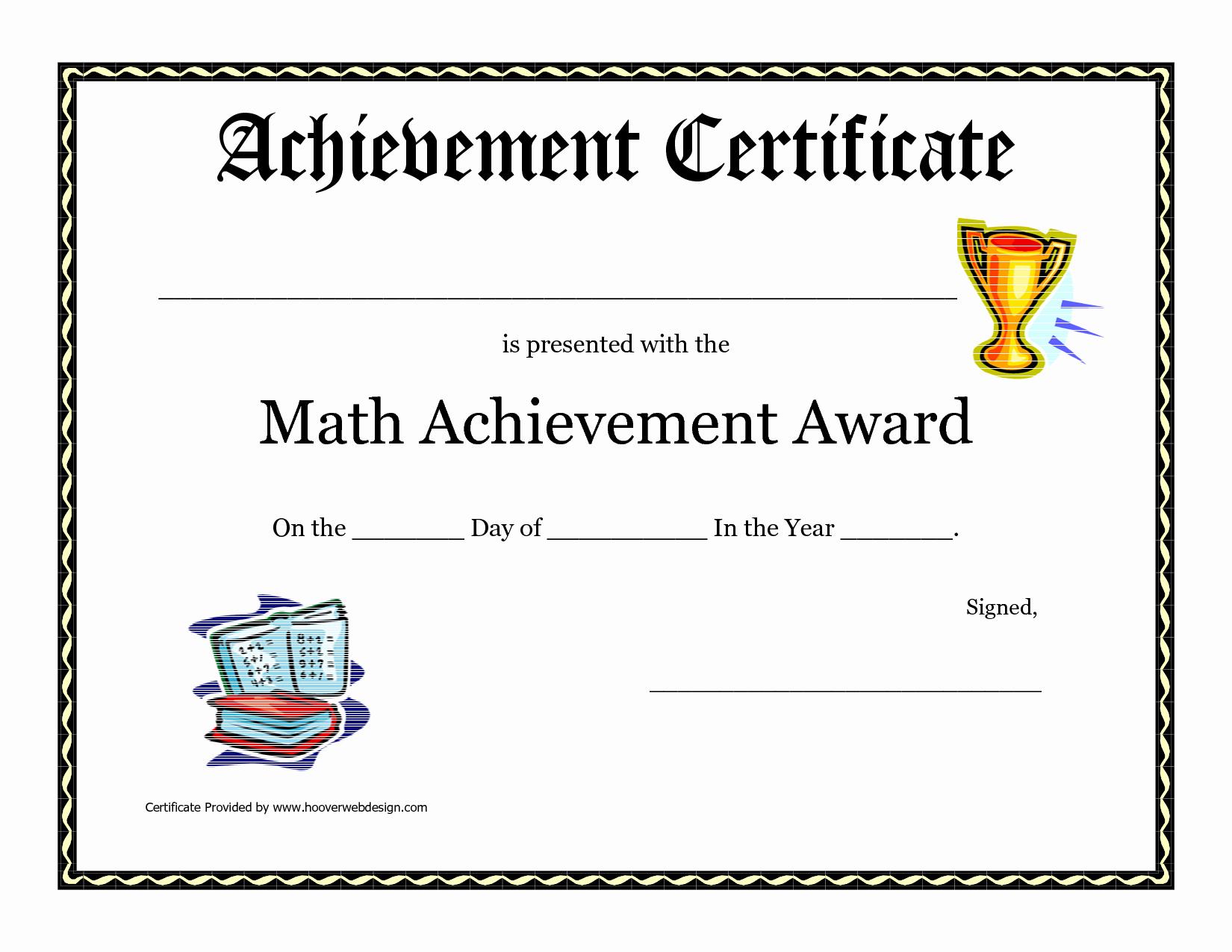 Pdf Certificate Template Free Inspirational Math Achievement Award Printable Certificate Pdf