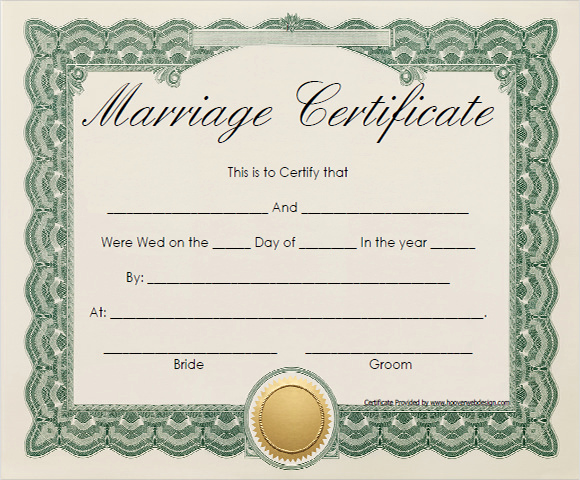 Pdf Certificate Template Free Lovely Free 17 Sample Marriage Certificate Templates In Pdf