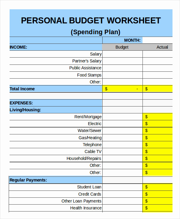 Personal Budget Spreadsheet Template Luxury Family Bud Template 11 Free Sample Example format