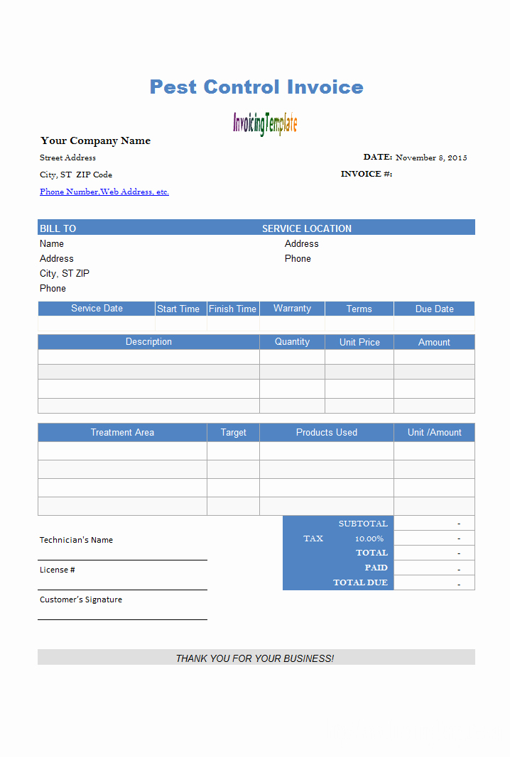 Pest Control Invoice Template Beautiful Free Excel Proposal Template